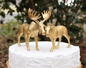 Wedding Cake Moose Topper, Woodland Cake Topper, Animal Cake Topper, Hunting Cake Topper, Rustic Cake Topper