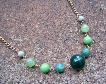 Eco-Friendly Ombre Necklace - The Grass is Always Greener - Recycled Vintage Chain and Beads in Varying Shades of Green