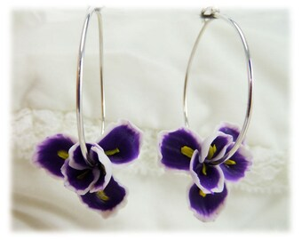 Purple Iris Hoop Earrings - Flower Hoop Earrings, Purple Iris Jewelry Collection