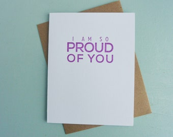 Letterpress Greeting Card - Friendship Card - Milestones - I am so Proud of You - MLS-091