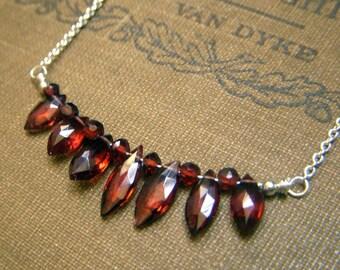 Garnet Necklace, Curved Genuine Gemstone Necklace Marquis Gemstone Necklace, Mozambique Garnet Necklace, Small Minimalist Sterling Necklace