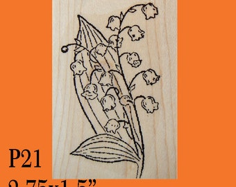 Lily of the Valley flowers rubber stamp WM P21