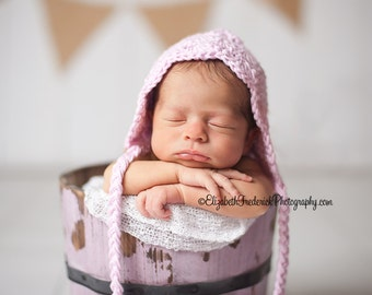 Crochet Girl Bonnet-Baby Girl Bonnet- Pink baby girl Bonnet-Newborn Photography Prop-newborn 3 6 9 12 months-Pink Pixie Bonnet