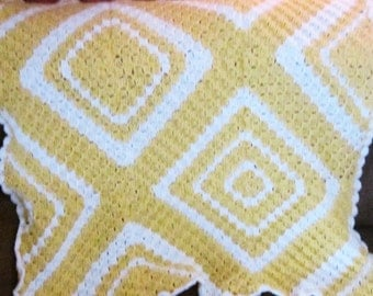 Small Hand Crochet Baby Throw Afghan Handmade Crochet Yellow and White Baby Afghan by craftylittlekitten Baby Blanket