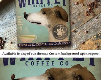 Whippet dog beer brewing Company graphic illustration on gallery wrapped canvas by Stephen Fowler