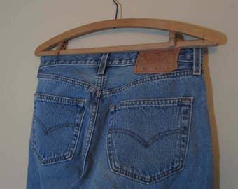 90s vintage 501 Levis button front Faded 501 Levis Vintage Blue denim Levis US made workwear button Levis Boyfriend jeans 31 32
