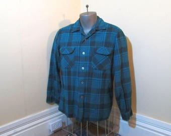 60s Pendleton Vintage Turquoise Plaid Pendleton 60s Board Shirt Button Loop blue and gray plaid wool plaid Pendleton Shirt Turquoise Wool  L