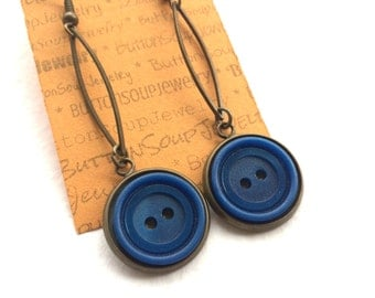 Long Dangle Button Earrings with Blue Vintage Buttons