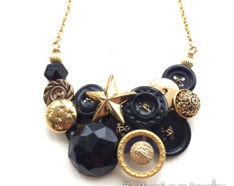 Pop Star Black and Gold Button Necklace