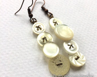 Mismatched Long White Pearly Vintage Button Earrings