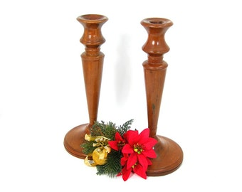 Turned Wood Candle Stick Holders, Set of 2 Vintage Candleholders, Mid-century Country Home Decor, Christmas Candles, Dining Table, Log Cabin