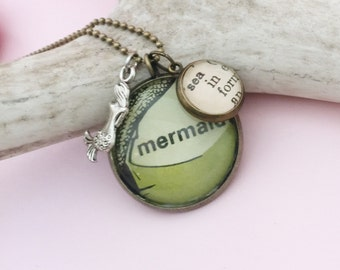 Mermaid Vintage Image Necklace, Under the Sea Vintage Dictionary Word Charm Pendant, One of a Kind I'm really a Mermaid Pendant