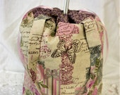Knitting Project bag -  Retro Roses & Butterfly Linen -  Drawstring Top - Craft Caddy - Handmade
