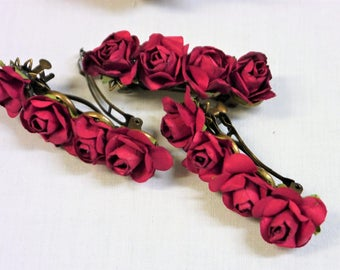 4 Deep Red Paper Roses on Bronze Hair Barrette  -  Wedding, Bridesmaids or other Special Occasion