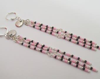 Seed Bead Chandelier Chain Dangle Earrings - Pink