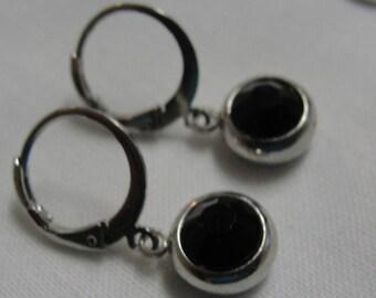 Black Rhinestone Round Silver Tone Dangle Pierced Earrings