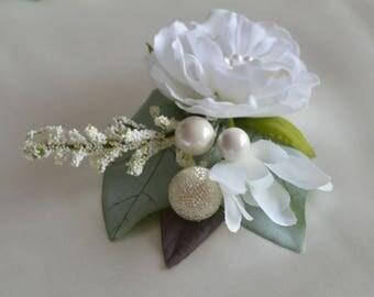 Bridal Hair Clip, White Rose Clip, Bridal Hair Piece, Bridal Hair Flower, Hair Accessory, Flower Hair Clip, Prom, Flower Girl, Bridesmaid