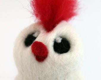 Red Hairy Bird Needle Felted White and Red Mowhawk Bird Moe