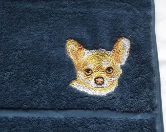 Chihuahua Dog Embroidered Hand Towel