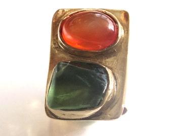 Peridot Gold Ring, Raw Peridot, Oval Carnelian, Two Stone Ring, Chunky Ring, Raw stone Jewelry, Green Ring, Orange Ring, Two Stones