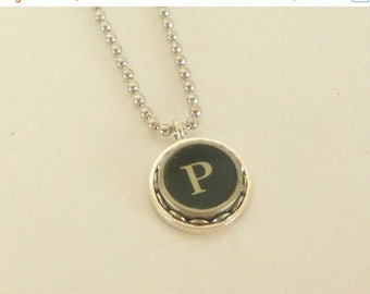 SALE Typewriter Key Necklace -  Letter P - Vintage - Initial Jewelry -  ALL Letters Available - Typography Jewelry