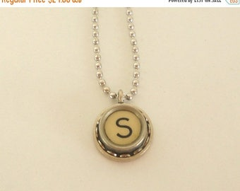 SALE Typewriter Key Necklace, Letter S , Vintage, Initial Jewelry,  All Letters Available, Typography Jewelry,