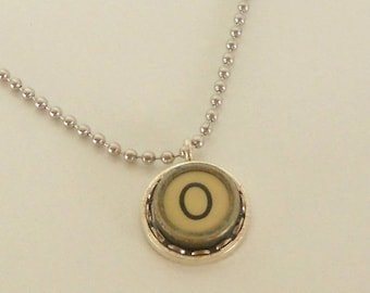 SALE Typewriter Key Necklace, Letter O, Vintage, Initial Jewelry,  All Letters Available, Typography Jewelry,