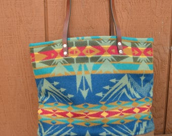 Pendleton Wool With Waxed Canvas and Leather Straps Tote Bag