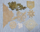 Vintage & Antique Lace Embellishment Lot...Flourish, Medallion,Applique, Gold Thread, Embroidery Trim Collection...early to mid 1900s,EL1717