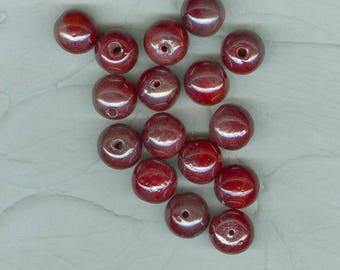 16 Cinnamon Red Opaque Vintage German Glass Beads 12 mm