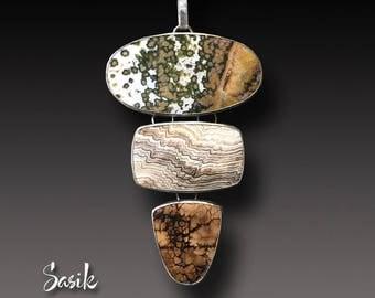 Ocean Jasper Petrified Wood and Stefoinite Sunflower Pendant