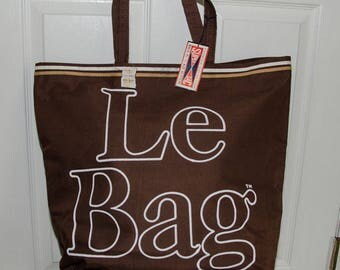 Vintage 1970's Le Bag Large Brown Canvas Tote Bag NWT