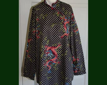 Vintage 1970's Asian Dragon Print A-Line Tunic Shirt