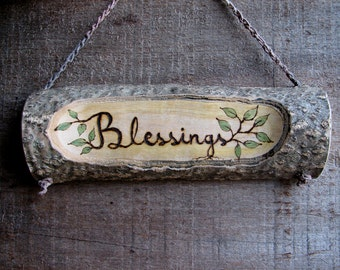 Blessings Rustic Organic Natural Maple Branch Small Wooden Sign by Tanja Sova