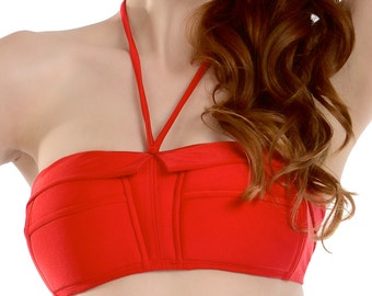 Marilyn Retro Halter Swimsuit Top in Red