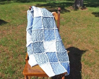 Blue Flowers Lap Size Rag Quilt - Large Lap Quilt - Wedding Gift - Gift For Her