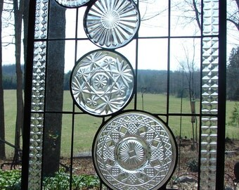 stained glass panel Clear Cascade window custom available