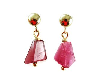 Pink Tourmaline Earrings - 14k Solid Gold - Tourmaline Earrings - Posts