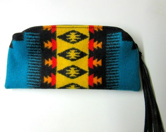 Wool Zippered Pouch Cosmetic Bag Pencil Pouch Case Accessory Purse Organizer Southwest Style