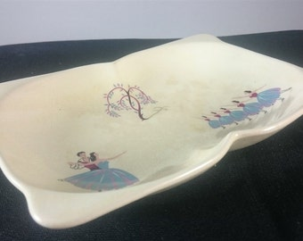 Vintage Beswick Ballet Dancers and Willow Tree Serving Dish or Bowl Ceramic Pottery 1930's - 1940's