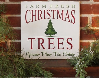 Farm Fresh Christmas Trees Hand Painted Wooden Sign Worn Vintage Look Holiday Decor