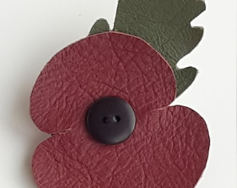 Remembrance Day leather Poppy brooch