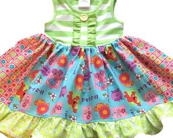 Elmo Abby Cadabby Zoe Sesame Street dress girls momi boutique