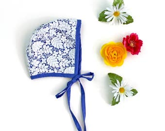 Lace Baby Bonnet, Heirloom Keepsake for baby and toddler, Cornflower Blue, more color options