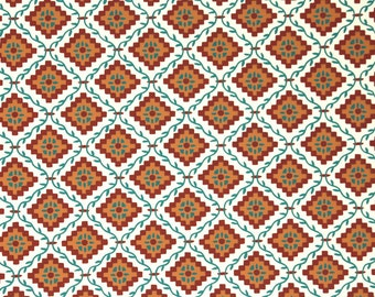 """1950s Vintage Wallpaper by the Yard - Nancy McClelland Geoemtric Wallpaper """"Grimms Fairy Tale"""" White Green and Rust"""