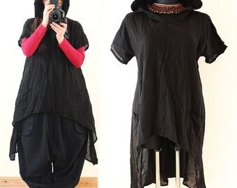 Long BAGGY Black Lagenlook Hooded Maxi Tunic Shirt Dress Plus Size 14 16 18 20 1X 2X Hoodie Asymmetric Hem Layered Lagenlook DIY Style