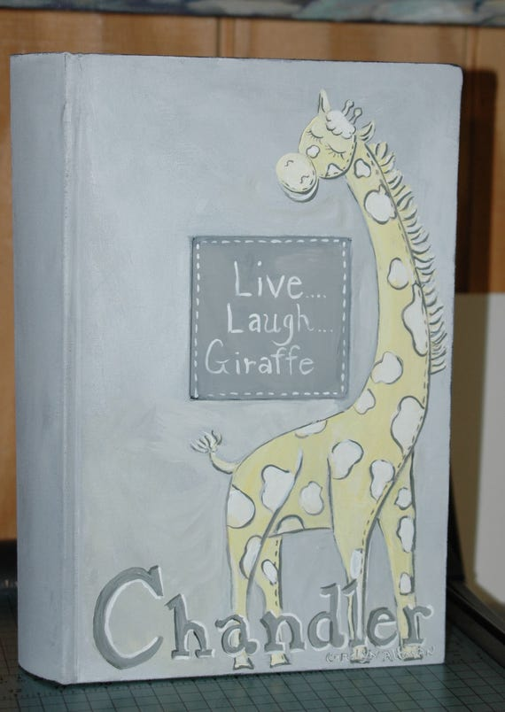 Live, Laugh, Giraffe Photo Album in Yellow and Gray
