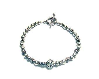 ON SALE Silver Beaded Bracelet