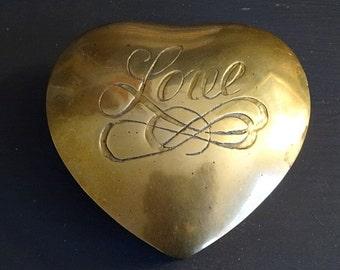 Brass Heart Box Brass Valentine Keepsake Box Love Jewelry Box