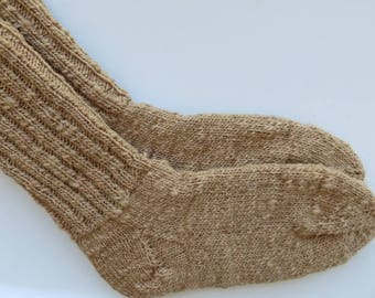 Tunis Wool Socks, Handspun and Hand Knitted Socks, Hiking Socks
